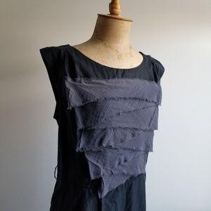 Cap Sleeve Ruffle Front MidLength Dress